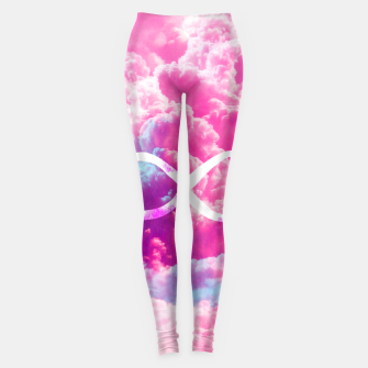 Thumbnail image of Girly Infinity Symbol Bright Pink Clouds Sky  Leggings, Live Heroes