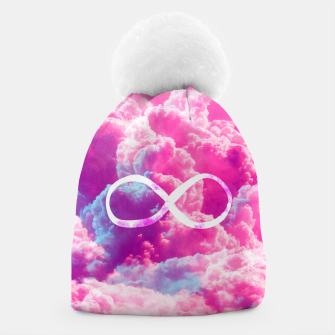 Thumbnail image of Girly Infinity Symbol Bright Pink Clouds Sky  Beanie, Live Heroes