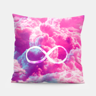 Thumbnail image of Girly Infinity Symbol Bright Pink Clouds Sky  Pillow, Live Heroes