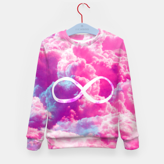 Thumbnail image of Girly Infinity Symbol Bright Pink Clouds Sky  Kid's Sweater, Live Heroes