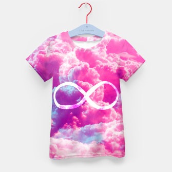 Thumbnail image of Girly Infinity Symbol Bright Pink Clouds Sky  Kid's T-shirt, Live Heroes