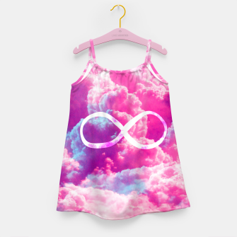 Thumbnail image of Girly Infinity Symbol Bright Pink Clouds Sky  Girl's Dress, Live Heroes