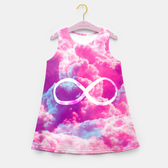 Thumbnail image of Girly Infinity Symbol Bright Pink Clouds Sky  Girl's Summer Dress, Live Heroes
