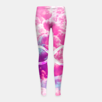 Thumbnail image of Girly Infinity Symbol Bright Pink Clouds Sky  Girl's Leggings, Live Heroes