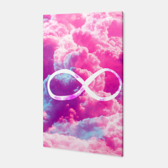 Thumbnail image of Girly Infinity Symbol Bright Pink Clouds Sky  Canvas, Live Heroes