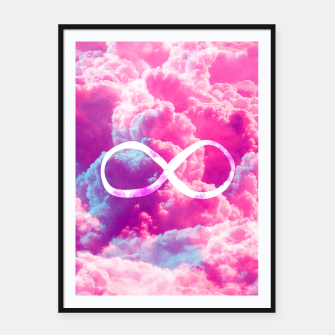 Thumbnail image of Girly Infinity Symbol Bright Pink Clouds Sky  Framed poster, Live Heroes
