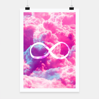 Thumbnail image of Girly Infinity Symbol Bright Pink Clouds Sky  Poster, Live Heroes