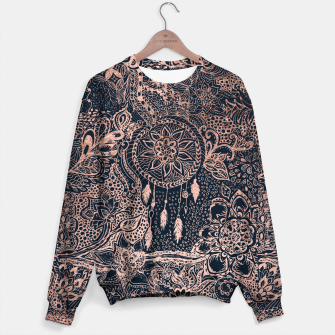 Miniature de image de Modern rose gold dreamcatcher floral doodles navy blue illustration  Sweater, Live Heroes