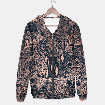 Miniature de image de Modern rose gold dreamcatcher floral doodles navy blue illustration  Hoodie, Live Heroes