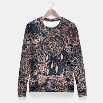 Miniature de image de Modern rose gold dreamcatcher floral doodles navy blue illustration  Fitted Waist Sweater, Live Heroes