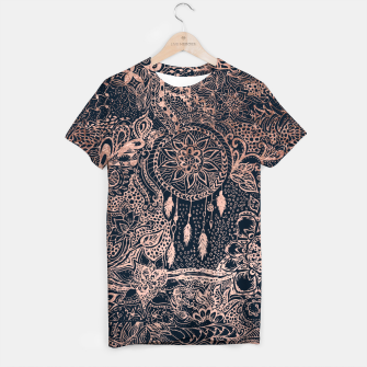 Miniature de image de Modern rose gold dreamcatcher floral doodles navy blue illustration  T-shirt, Live Heroes