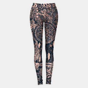 Miniature de image de Modern rose gold dreamcatcher floral doodles navy blue illustration  Leggings, Live Heroes