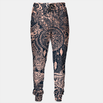Miniature de image de Modern rose gold dreamcatcher floral doodles navy blue illustration  Sweatpants, Live Heroes