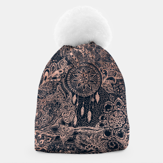 Miniature de image de Modern rose gold dreamcatcher floral doodles navy blue illustration  Beanie, Live Heroes