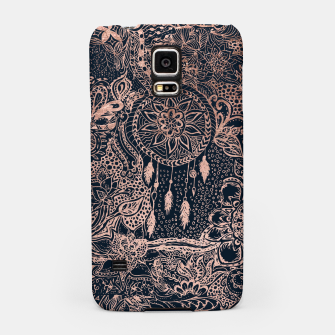 Miniature de image de Modern rose gold dreamcatcher floral doodles navy blue illustration  Samsung Case, Live Heroes