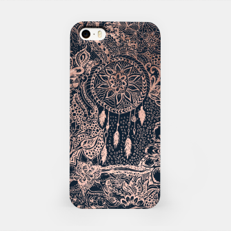 Miniature de image de Modern rose gold dreamcatcher floral doodles navy blue illustration  iPhone Case, Live Heroes