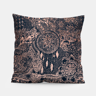 Miniature de image de Modern rose gold dreamcatcher floral doodles navy blue illustration  Pillow, Live Heroes