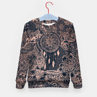 Miniature de image de Modern rose gold dreamcatcher floral doodles navy blue illustration  Kid's Sweater, Live Heroes