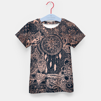 Miniature de image de Modern rose gold dreamcatcher floral doodles navy blue illustration  Kid's T-shirt, Live Heroes