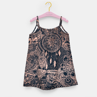 Miniature de image de Modern rose gold dreamcatcher floral doodles navy blue illustration  Girl's Dress, Live Heroes