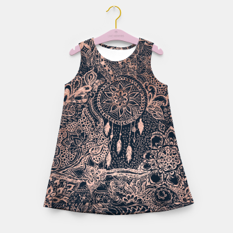 Miniature de image de Modern rose gold dreamcatcher floral doodles navy blue illustration  Girl's Summer Dress, Live Heroes