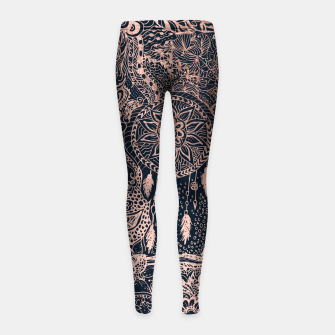 Miniature de image de Modern rose gold dreamcatcher floral doodles navy blue illustration  Girl's Leggings, Live Heroes