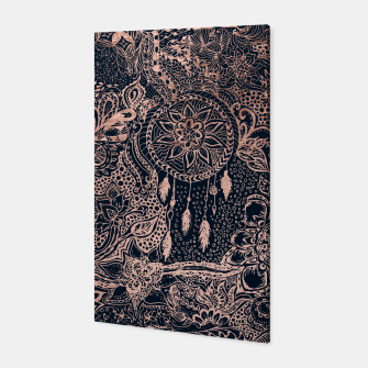 Miniature de image de Modern rose gold dreamcatcher floral doodles navy blue illustration  Canvas, Live Heroes