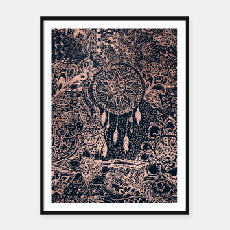 Thumbnail image of Modern rose gold dreamcatcher floral doodles navy blue illustration  Framed poster, Live Heroes
