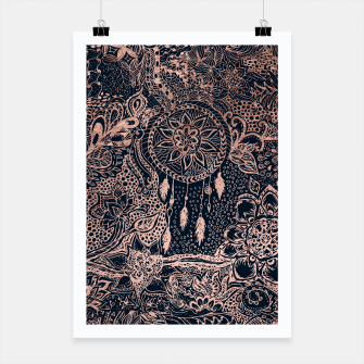 Miniature de image de Modern rose gold dreamcatcher floral doodles navy blue illustration  Poster, Live Heroes
