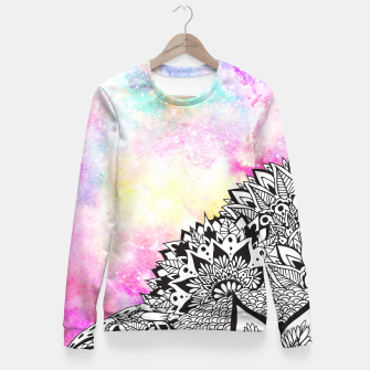 Thumbnail image of Modern watercolor nebula white floral mandala Fitted Waist Sweater, Live Heroes