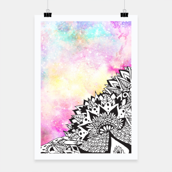 Thumbnail image of Modern watercolor nebula white floral mandala Poster, Live Heroes