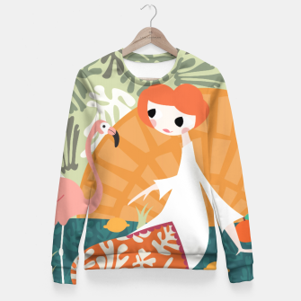 Thumbnail image of Girl with flamingo 001 Fitted Waist Sweater, Live Heroes