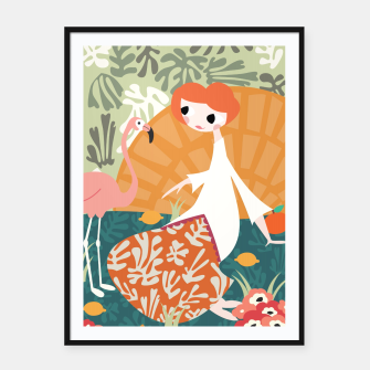 Thumbnail image of Girl with flamingo 001 Framed poster, Live Heroes