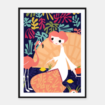 Thumbnail image of Girl with flamingo, 002 Framed poster, Live Heroes