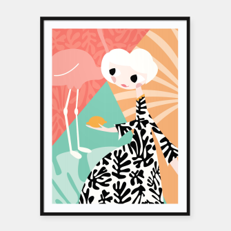 Thumbnail image of Girl with flamingo, 003 Framed poster, Live Heroes