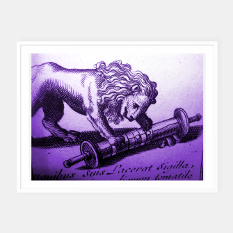 Thumbnail image of Purple Lion with Scroll Engraving Framed poster, Live Heroes