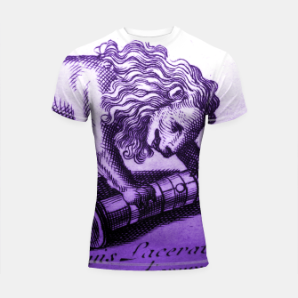 Miniatur Purple Lion with Scroll Engraving Shortsleeve Rashguard, Live Heroes
