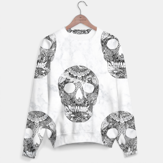 Thumbnail image of Modern hand drawn floral lace black marble skulls pattern Sweater, Live Heroes