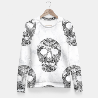 Thumbnail image of Modern hand drawn floral lace black marble skulls pattern Fitted Waist Sweater, Live Heroes