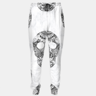 Thumbnail image of Modern hand drawn floral lace black marble skulls pattern Sweatpants, Live Heroes