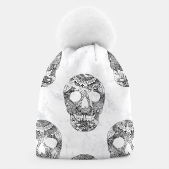 Thumbnail image of Modern hand drawn floral lace black marble skulls pattern Beanie, Live Heroes