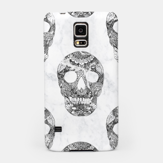 Miniaturka Modern hand drawn floral lace black marble skulls pattern Samsung Case, Live Heroes