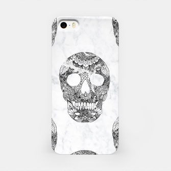 Thumbnail image of Modern hand drawn floral lace black marble skulls pattern iPhone Case, Live Heroes