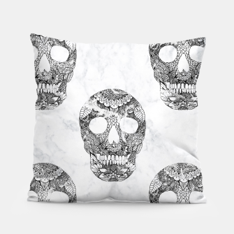 Thumbnail image of Modern hand drawn floral lace black marble skulls pattern Pillow, Live Heroes
