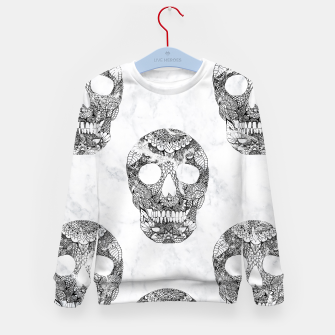 Thumbnail image of Modern hand drawn floral lace black marble skulls pattern Kid's Sweater, Live Heroes