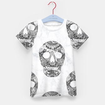 Thumbnail image of Modern hand drawn floral lace black marble skulls pattern Kid's T-shirt, Live Heroes