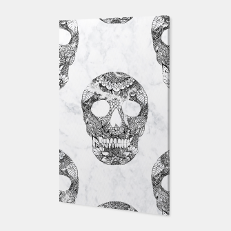 Thumbnail image of Modern hand drawn floral lace black marble skulls pattern Canvas, Live Heroes