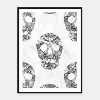 Thumbnail image of Modern hand drawn floral lace black marble skulls pattern Framed poster, Live Heroes