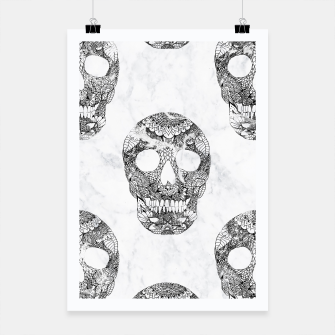 Thumbnail image of Modern hand drawn floral lace black marble skulls pattern Poster, Live Heroes