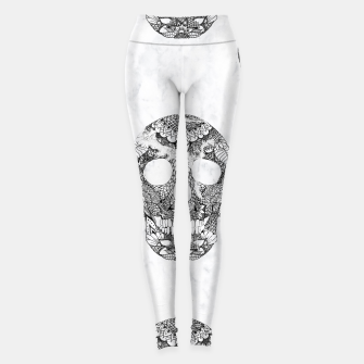 Thumbnail image of Modern hand drawn floral lace black marble skulls pattern Leggings, Live Heroes